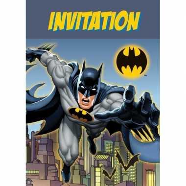 8x batman themafeest uitnodingen/kaarten