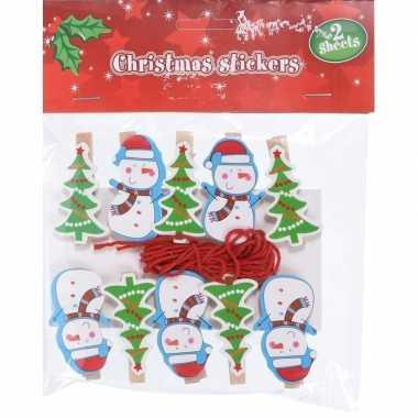 10x houten kerst knijpers sneeuwpop/kerstboom met koord