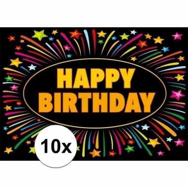 Feest 10x verjaardag wenskaart happy birthday