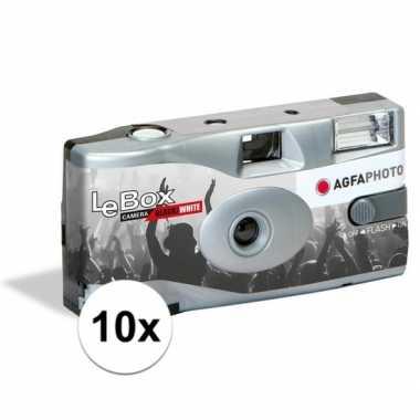 10x wegwerp cameras met flitser voor 36 zwart/wit fotos