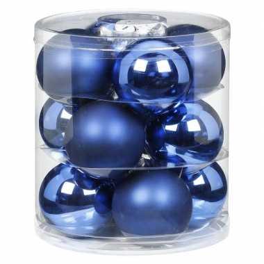 12x blauwe glazen kerstballen 8 cm glans en mat