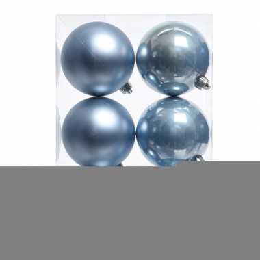 12x ijsblauwe kerstversiering kerstballen kunststof 8 cm