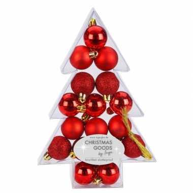 17x rode kunststof kerstballen pakket 3 cm