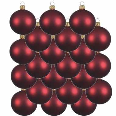 18x donkerrode glazen kerstballen 6 cm mat