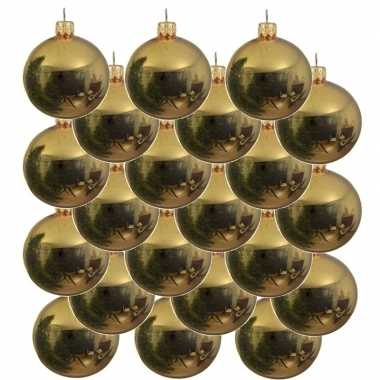 18x gouden glazen kerstballen 8 cm glans
