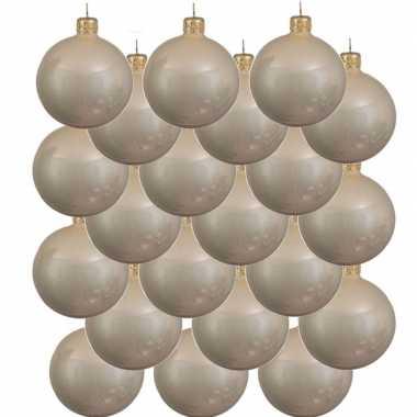 18x licht parel/champagne glazen kerstballen 8 cm glans
