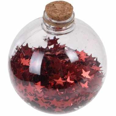 1x fles kerstballen rode sterren 8 cm kunststof