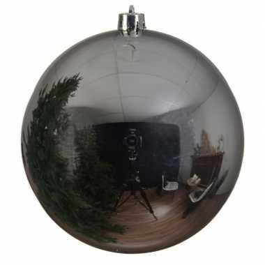 1x grote zilveren kerstbal van 14 cm