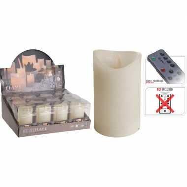 1x ivoor led stompkaars flame 12 cm met flakkerende vlam