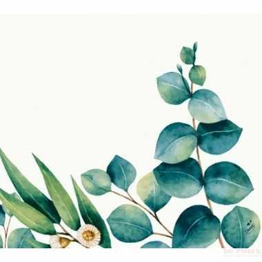 Feest 20x design servetten eucalyptus wit groen 33 x 33 cm