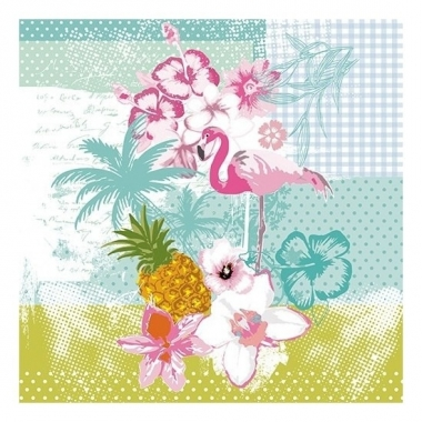 Feest 20x flamingo tropische thema servetten 33 x 33 cm