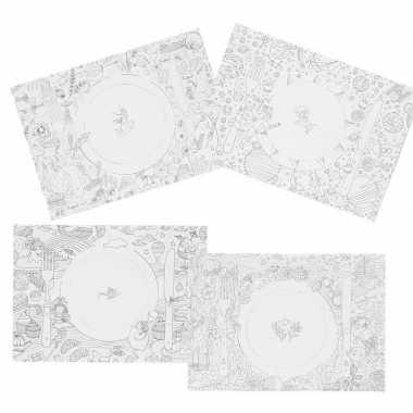 Feest 20x knutsel papieren placemats om in te kleuren voor kinderen