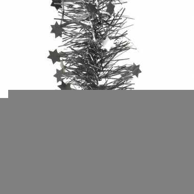 2x antraciet kerstversiering folie slinger met ster 270 cm