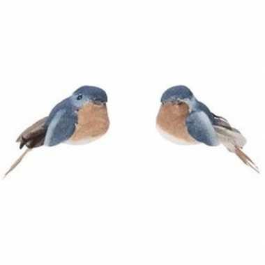 2x blauw/bruine metallic vogels kerstversiering clip decoraties