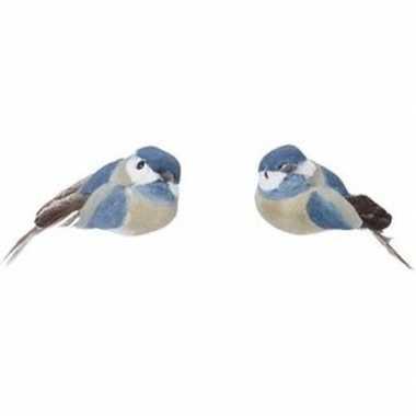 2x blauwe metallic vogels kerstversiering clip decoraties 4 cm