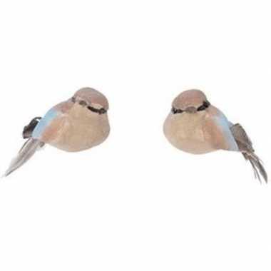 2x bruine metallic vogels kerstversiering clip decoraties 4 cm