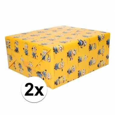 2x cadeaupapier minions geel