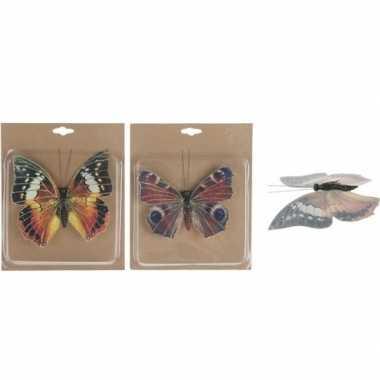 Feest 2x decoratie vlinders op clip 17 cm