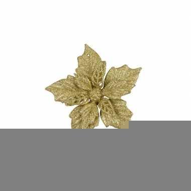 2x gouden decoratie bloem 12 cm op clip