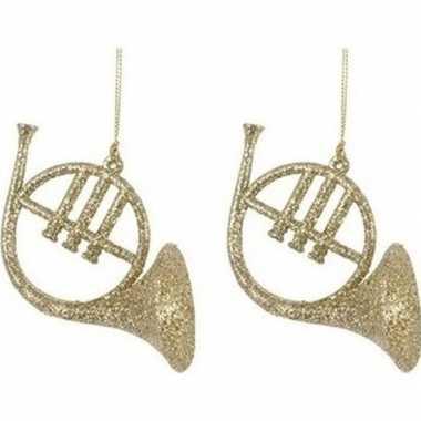 Feest 2x gouden hoorn instrumenten kerstversiering hangdecoraties 7 cm
