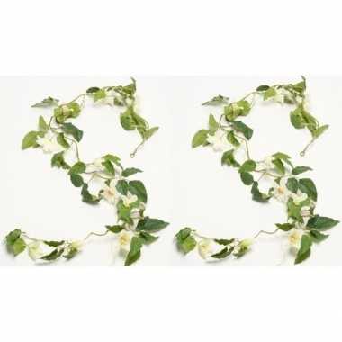 2x groene clematis kunsttak kunstplanten 180 cm