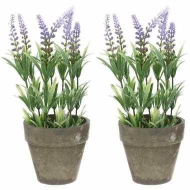 2x groene/lilapaarse lavandula/lavendel kunstplanten 25 cm in po