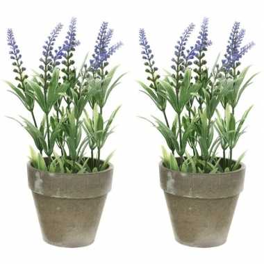 2x groene/paarse lavandula/lavendel kunstplant 25 cm in betonpot