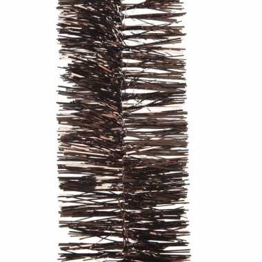 2x kerstboom folie slinger donkerbruin 270 cm