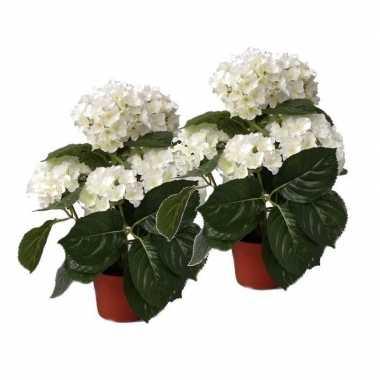 Feest 2x kunstplanten hortensia wit 36 cm