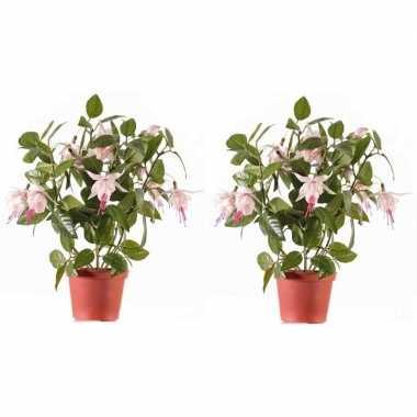 2x lichtroze fuchsiaplant kunstplanten 30 cm voor binnen