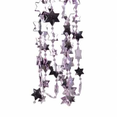 Feest 2x lila paarse kerstversiering ster kralenslinger 270 cm