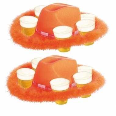 Feest 2x oranje bierhoeden met bondrand