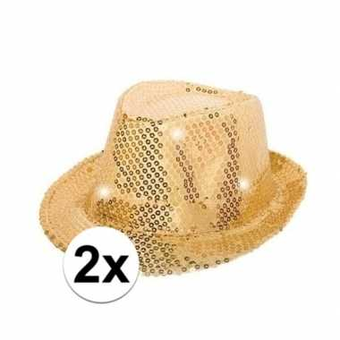 Feest 2x pailletten trilby hoeden goud led light