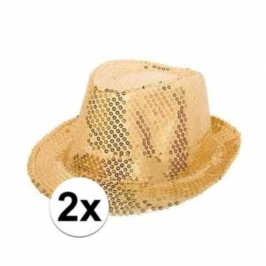 Feest 2x party hoedjes met gouden pailletten