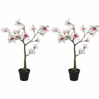 2x witte/roze magnolia/beverboom kunsttakken kunstplanten 102 cm