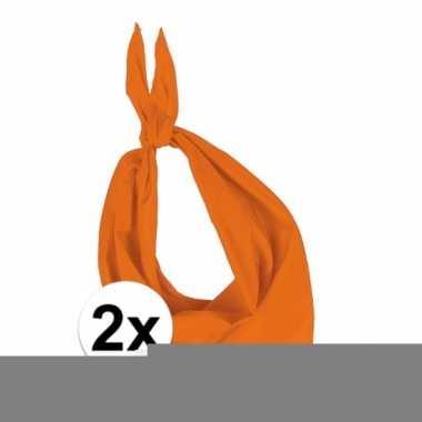 Feest 2x zakdoek bandana oranje