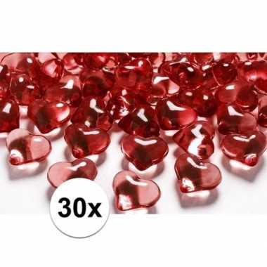 Feest 30 hartjes steentjes rood 2 cm