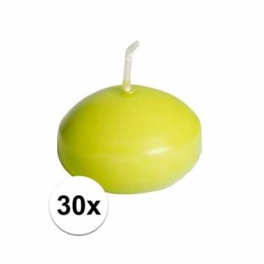 30x drijfkaarsen lime groen 4,5 cm