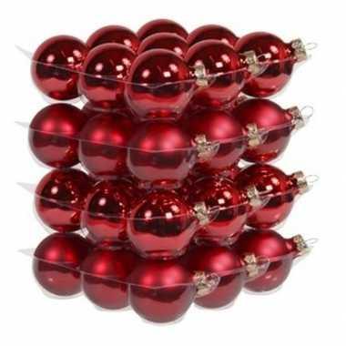 36x rode glazen kerstballen 4 cm mat/glans
