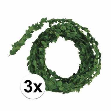 Feest 3x buxus guirlande slingers 5 meter