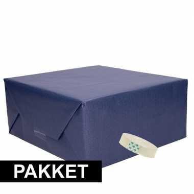 3x donker blauw kraft inpakpapier met rolletje plakband pakket 7