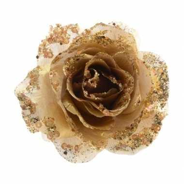 3x gouden glitter roos met clip