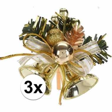 3x gouden kerstklokjes/kerststukjes decoraties 7 cm