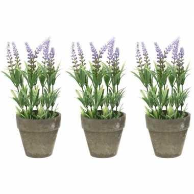 3x groene/lilapaarse lavandula/lavendel kunstplanten 25 cm in po