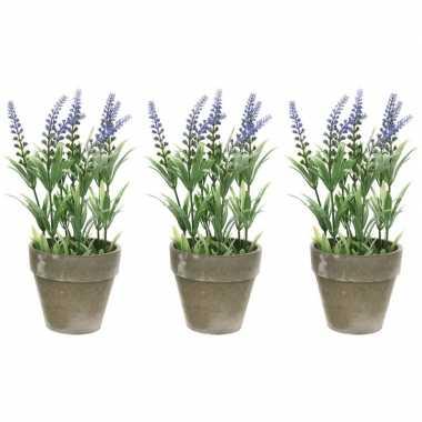 3x groene/paarse lavandula/lavendel kunstplant 25 cm in betonpot