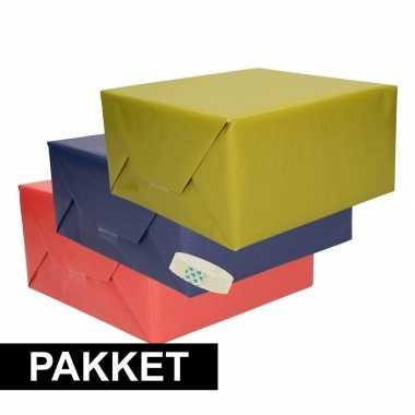 3x kraft inpakpapier met rolletje plakband pakket 4