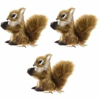 3x lichtbruine eekhoorn kerstversiering clip decoratie 8 cm