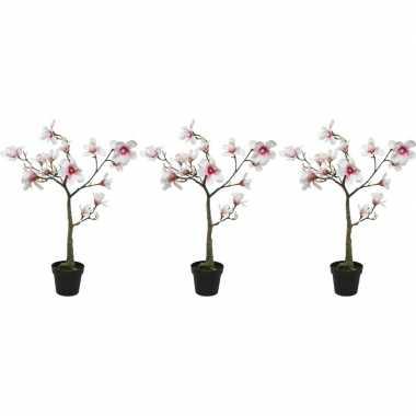3x witte/roze magnolia/beverboom kunsttakken kunstplanten 102 cm
