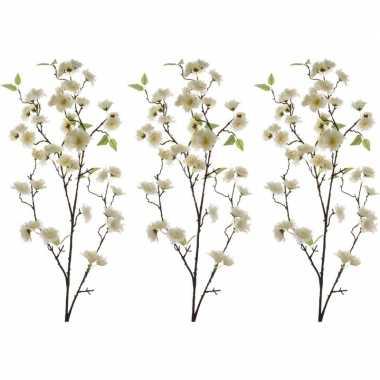 3x witte sakura/kersenbloesem kunsttakken kunstplanten 112 cm