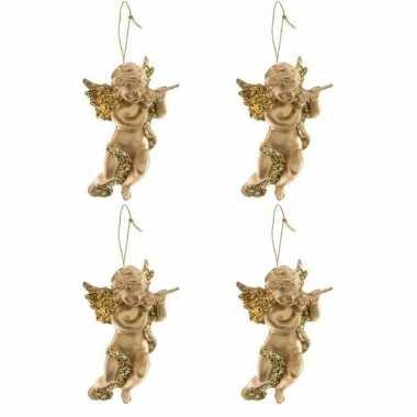 4x gouden engel met dwarsfluit kerstversiering hangdecoraties 10 cm